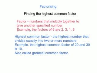 Factorising numbers