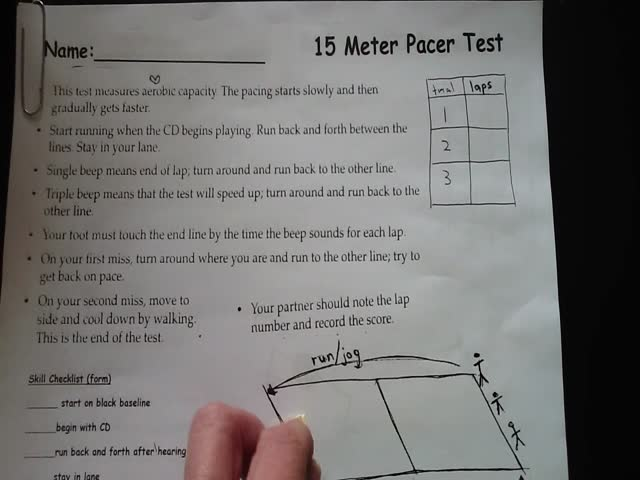 15 meter pacer fitness test