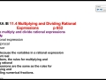 11.4 Multiplying and Dividing Rational Expressions part 1