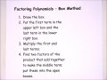 Factoring Polynomials Using the Box Method