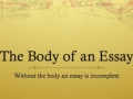 The Body of an Essay