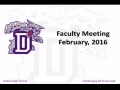 Duluth High School Feb 2016 Faculty Meeting