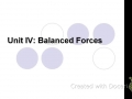 Solving Balanced Force Problems