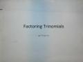 Factoring Trinomials a>1