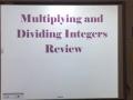 HW 08.04.16 Multiplying & Dividing Integers Review