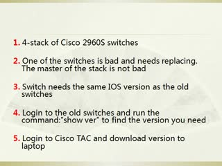 How to replace Cisco 2960 Switch and upgrade firmware