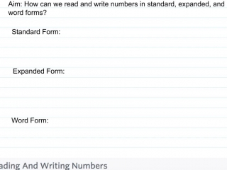 Fourth Grade - Lesson 1.2 Reading and Writing Numbers