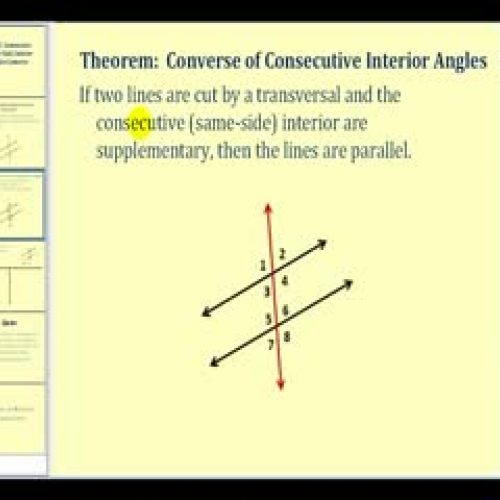 Proof Consecutive Interior Angles Converse