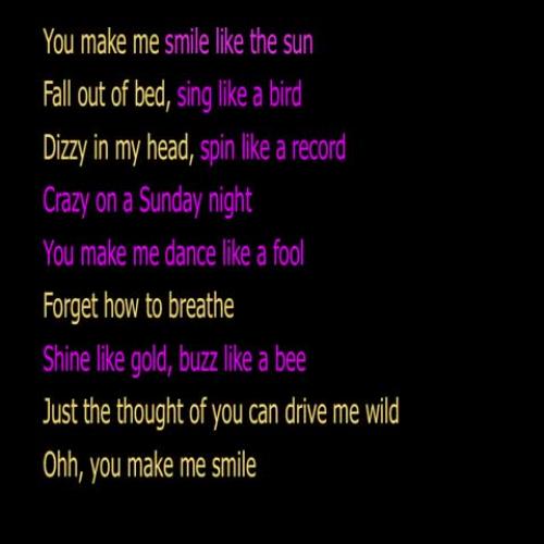 Song lyrics with similes list
