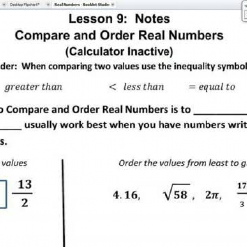 Lesson 9 Compare And Order Real Numbers