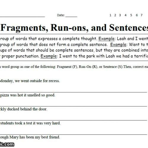 Fragments, Run-ons, and Sentences