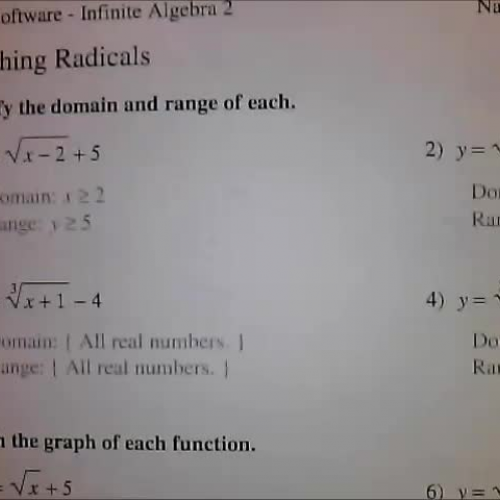 Graphing Radicals Kuta Software Worksheet