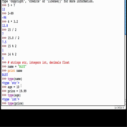 Basic Math, Variables and Data Types in the Python IDLE Shell