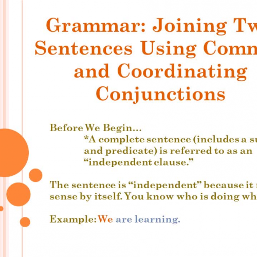 Commas and Coordinating Conjunctions