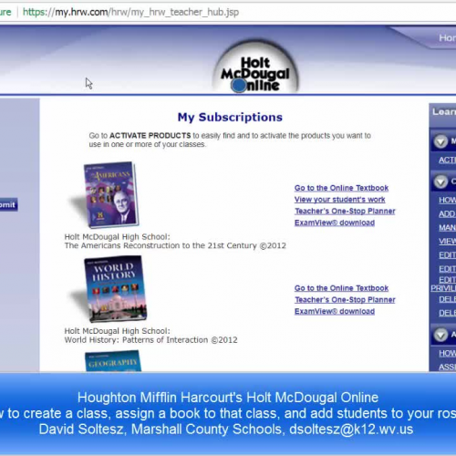 MyHRW com teacher login, class creation, text assignment, student  rostering, and student login