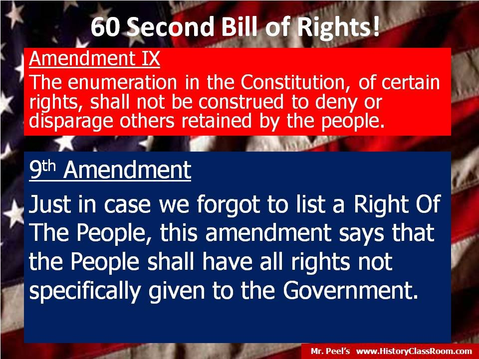 the ninth amendment Ratified on december 15, 1791, the ninth amendment (amendment ix) to the united states constitution is a part of the united states bill of rights.