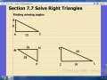 Solve Right Triangles (Sec 7.7)