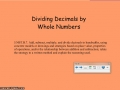 Dividing decimal numbers by whole numbers with models and place vlaue