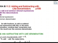 11.5 Adding and Subtracting with Like Denominators
