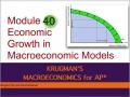 Economic Growth in Macroeconomic Models