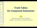 James Sousa: Truth Tables for Compound Statements