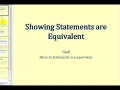 James Sousa: Showing Statements are Equivalent