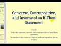 James Sousa: The Converse, Contrapositive, and Inverse of an If-Then Statement