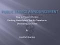 Public Service Health Announcement (PSHA) on Cholera