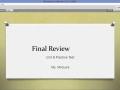 Pre-Algebra B: Final Exam Review & Practice Test