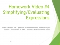 Homework Video: Simplifying and Evaluating Expressions