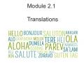 Geometry 2.1 Translations