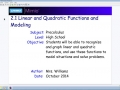 2.1 Linear and Quadratic Functions and Modeling