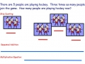 Multiplying by 5 story problem model