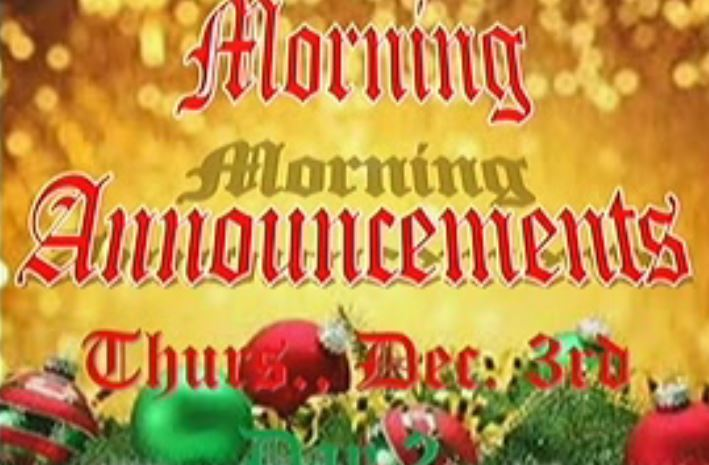 WJHS Morning Announcements 12-3-15