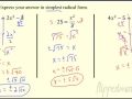 12.3 Solve Quadratics using Square Roots