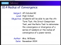 10.4 Radius of Convergence