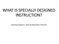 Specially Designed Instruction