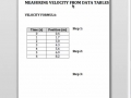 Finding Velocity from a Data Table