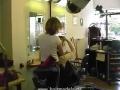 Blonde Woman Backward Shampooing