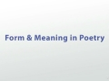 form and meaning in poetry