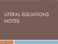 Literal Equations Assignment