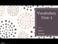 English 4 Vocab Unit 4