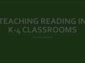 Teaching Reading - Course Design