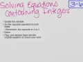 3-6 Solving Equations with Integers