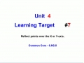 Lesson Target 7 - Reflecting Points Over an Axis