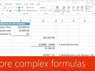 More complex formulas in Excel 2013