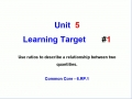 Unit 5 - Learning Target 1 - Ratios and Relationships