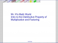 Intro to the Distributive Property and Factoring