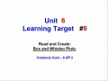 Unit 6 - Learning Target 9 - Box and Whisker Plots
