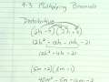 Algebra Lesson 9-3 Multiplying Binomials